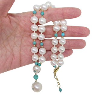 Real Mabe Pearl & Turquoise Beaded Necklace