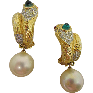 K.J.L. Snake & Faux Pearl Dangle Earrings