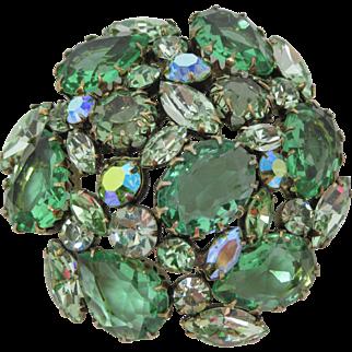 Large Domed Green Regency Brooch