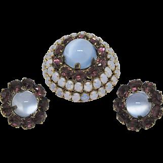 Unusual Sterling Brooch & Earring Set
