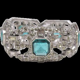 Gorgeous Art Deco Faux Emerald Bracelet