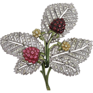 Rare Pennino Enameled Leaf Pin