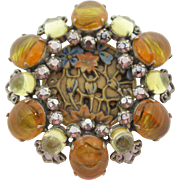 Gorgeous Schreiner Resin & Cabochon Brooch/Pendant