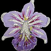 Gorgeous Purple Enameled Orchid Fur Clip