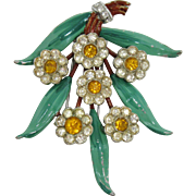 Charming 1940s Enameled Flower Fur Clip