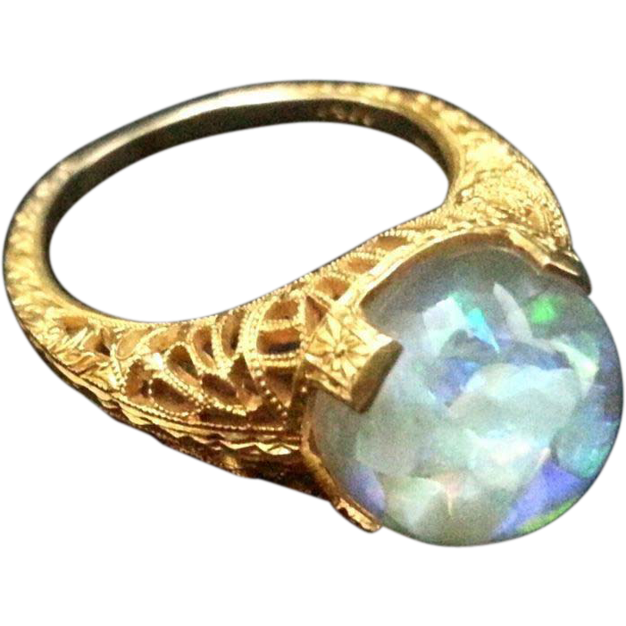 Vintage 1930s 14k Horace Welch Floating Opal Ring SOLD Ruby Lane
