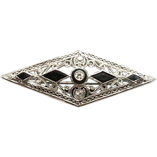 Art Deco Platinum Diamond Pin / Brooch