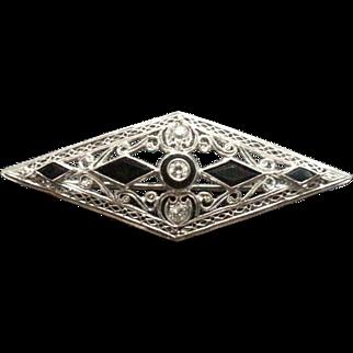 Art Deco Platinum Diamond Pin / Brooch