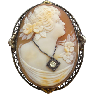 Large Vintage Sterling Silver Filigree FLORA Shell Cameo w Necklace