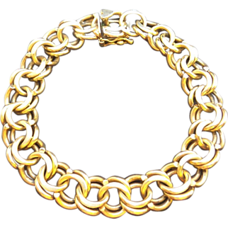 Vintage Solid 14k Gold Heavy Curb / Charm Bracelet w/ Heart Clasp