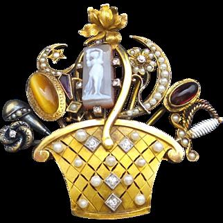 """Antique 14k Gold Stick Pin Bouquet Brooch / Pin UNIQUE   2 1/2 """""""