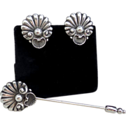 Vintage Signed Cini Sterling Silver Stick Pin & Earring Set