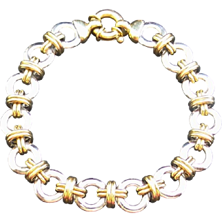 Estate 14K White & Yellow Gold XO Link Bracelet / Charm Bracelet