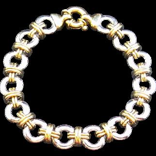 Estate 14K White & Yellow Gold XO Link Bracelet / Charm Bracelet