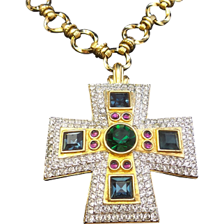 Huge HAUTE COUTURE SWAROVSKI  Jeweltone Maltese Cross Necklace!