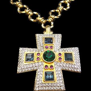 Huge HAUTE COUTURE SWAROVSKI  Jeweltone Maltese Cross Necklace!