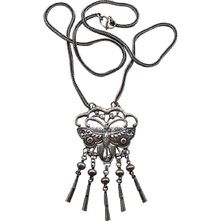 Vintage Chinese Sterling Silver Butterfly Moth Necklace Pendant