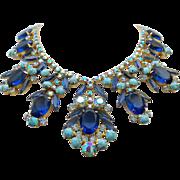 Vintage Juliana (Delizza & Elster) Large Sapphire  & Faux Turquoise Art Glass Drop Necklace