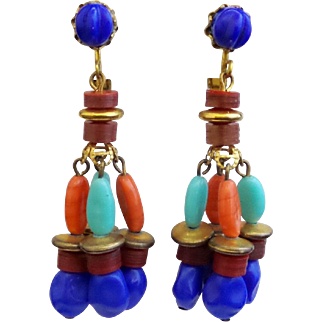 Vintage Miriam Haskell Egyptian Bead Dangle Earrings