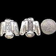 Large Vintage Native American Navajo Sterling Silver Stamped Thunderbird Cufflinks