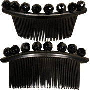 Beautiful Onyx Early Plastic Celluloid Victorian Pair of Matching Combs