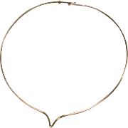 14K Vintage Yellow Gold Modern Wire Choker Torque Necklace