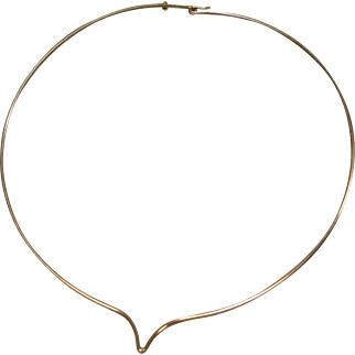 14K Vintage Yellow Gold Modern Wire Choker Torque Necklace