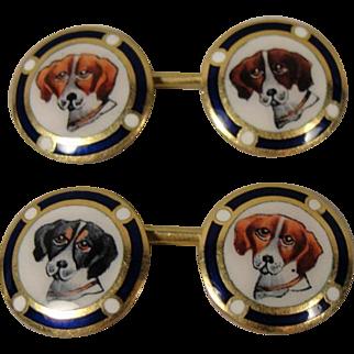 Vintage  Antique 18K Enamel Dog Cufflinks Cuff Links Beagles