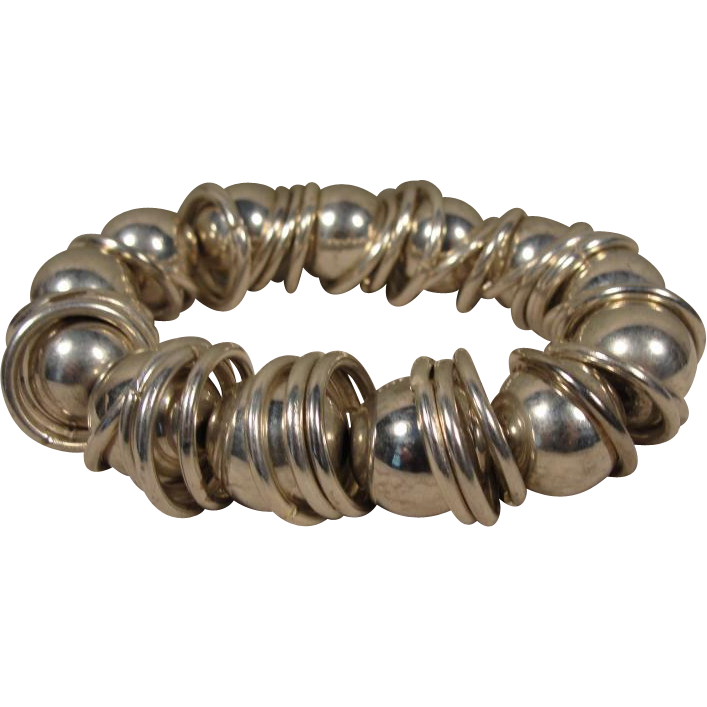 Sterling Moderne Industrial Kinetic Ball & Ring Bracelet