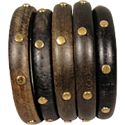 Stack of 5 Five Wood Studded Bangle Bracelets