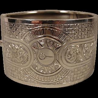 Victorian Sterling England Wide Bangle Bracelet 1887 Etched