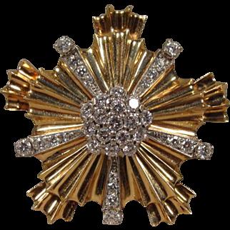 Vintage Retro 14K Diamond  Pin Clip Brooch 2 Carat