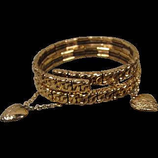 Pair Victorian Bride Gold-Filled Heart Bracelets