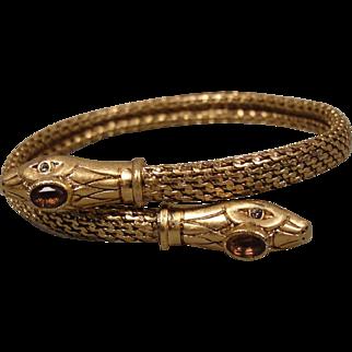 Victorian Gold-Filled Double Snake Bracelet Paste