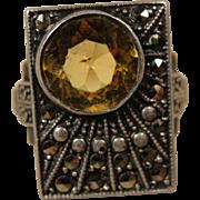 Vintage Sterling Silver Marcasite Citrine Ring