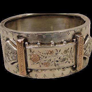 Victorian English Sterling Gold Aesthetic Bangle Bracelet