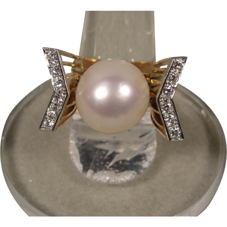 Modernist South Sea Pearl Diamond 14K Ring Signed