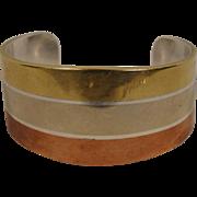 Los Castillo Mixed Metal Sterling Cuff Bracelet Mexico Vintage