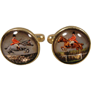 14K  Reverse Essex Horse Equestrian Jumping Crystal Cufflinks Cuff Links Antique Elements