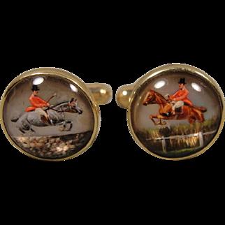 14K  Reverse Essex Horse Equestrian Jumping Crystal Cufflinks Cuff Links Antique Elements