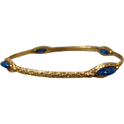 18K Art Nouveau Lapis lazuli Bangle Slip-On Bracelet