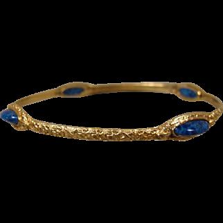 18K Art Nouveau Lapis lazuli Bangle Slip-On Bracelet