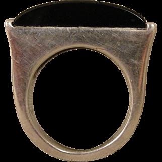 Vintage Sterling Sculptural Modernist Polished Onyx Ring