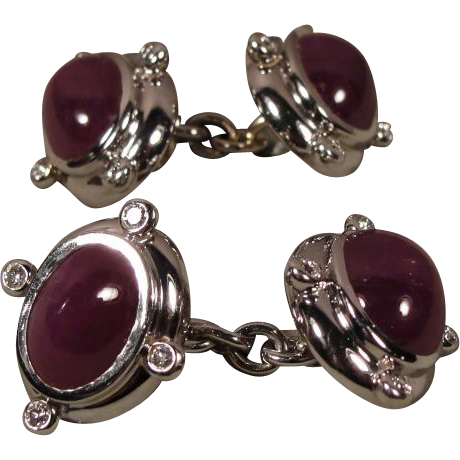 18K White Gold Seaman Schepps Ruby Diamond Cuff Links Cufflinks