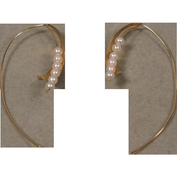 14K Handmade Art Jewelry Pearl Earrings