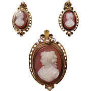 14K Victorian Hardstone Cameo Pin Pendant & Earrings