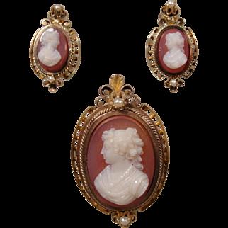 14K Victorian Hardstone Cameo Pin Pendant & Earrings