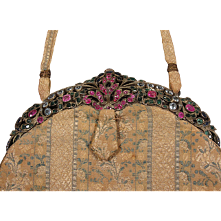 Antique Silver Jewelled Silk Purse Sapphires Emeralds Rubies