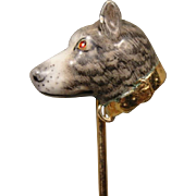 14K Victorian Edwardian Enamel Dog Stick Pin Stickpin Hedges