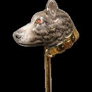 14K Victorian Edwardian Enamel Dog Stick Pin Stickpin Hedges